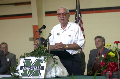 "James H. ""Buck"" Harless addresses the audience at the dedication of the June Harless Center for Rural Educational Research and Development in 2001."