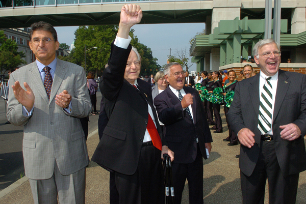 """Senator Byrd at the dedication of Marshall""""s Robert C. Byrd Biotechnology Science Center, in August of 2006. From left are West Virginia Gov. Joe Manchin, Sen. Byrd, A. Michael Perry, and Marshall President Stephen J. Kopp."""