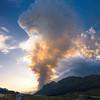 Colonna di fumo dell'incendio sullo Jovet in Val Raccolana dall'altopiano del Montasio <br /> foto n°040813-263761