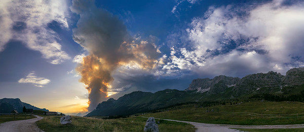 Incendio in Val Raccolana