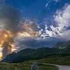 Colonna di fumo dell'incendio sullo Jovet in Val Raccolana dall'altopiano del Montasio <br /> foto n°040813-261333