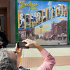 John P. Cleary | The Herald Bulletin<br /> Pendleton resident Joe Godbey takes a picture of the mural that was unveiled celebrating the town's own upcoming bicentennial during the Indiana Bicentennial Torch Relay activities Friday.