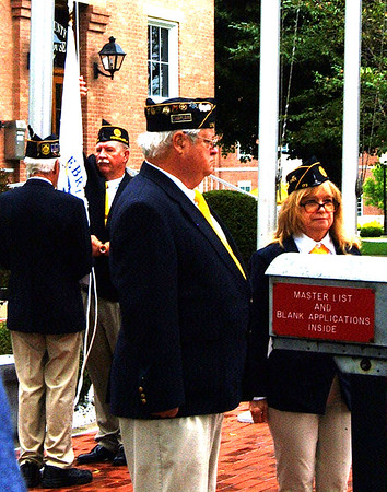 Debbie Blank | The Herald-Tribune<br /> The state bicentennial flag was hoisted by the Versailles American Legion Post 173 honor guard during Saturday's ceremony.
