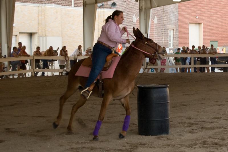 Mule barrel racing at the 2007 Indiana State Fair
