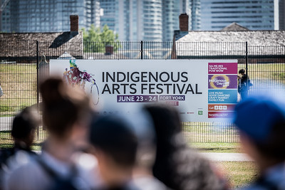 School children enter the Indigenous Arts Festival at Fort York in Toronto to celebrate National Indigenous Peoples Day. June 21, 2018.