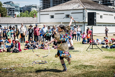 Rhonda Doxtater performs hoop dancing at the opening of the Indigenous Arts Festival at Fort York in Toronto. June 21, 2018.