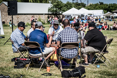 The Red Spirit Singers Drum Group performs at the opening of the Indigenous Arts Festival at Fort York in Toronto. June 21, 2018.