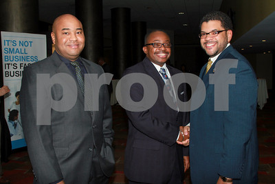 1/14/11 Tony Kirkland (ctr) greets Steve Jones (rgt) along with Madison County Judge-Rudy Pyle (lft) who was also in attendance.  Photo/Ron Foster Sharif