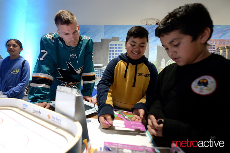 Sharks Forward Joonas Donskoi with students