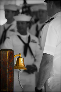 When the ship's captain, or other important person arrives or departs, watch standers make an announcement to the ship and ring the bell.