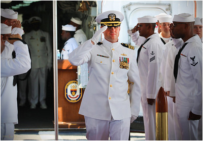Commander Peter J.  Ehlers at start of installation ceremony