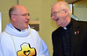 Fr. Stephen Huffstetter gets advice from a former provincial, Fr. Michael Burke