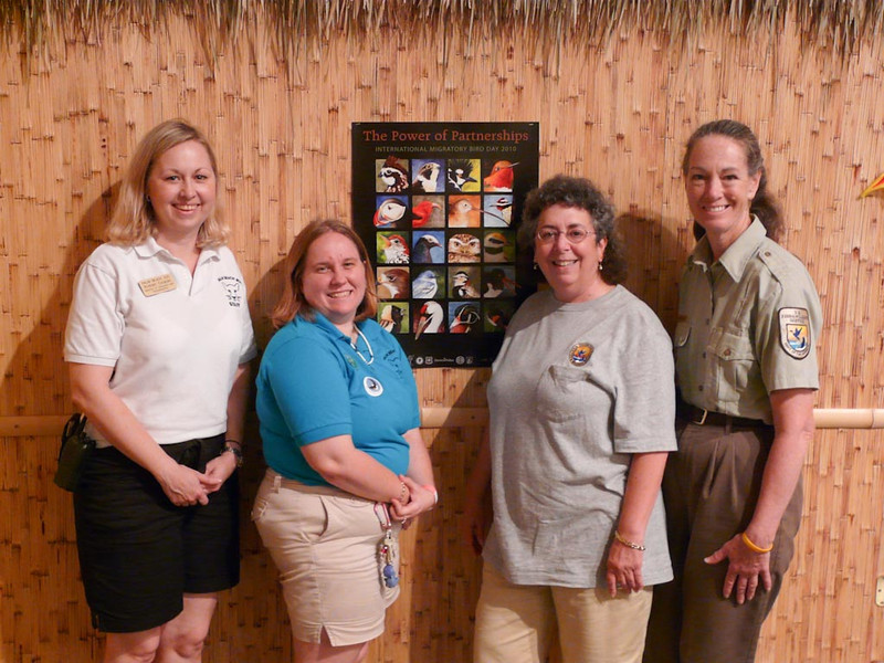 <b>International Migratory Bird Day</b> (from left to right) Kristen Cytacki, Director of Education and Sustainability, Palm Beach Zoo; Amanda Clough, Education Programs Coordinator, Palm Beach Zoo; Marta Isaacson, Refuge Volunteer Educational Consultant; Serena Rinker, Refuge Interpretive Specialist (USFWS) <i>- Palm Beach Zoo</i>