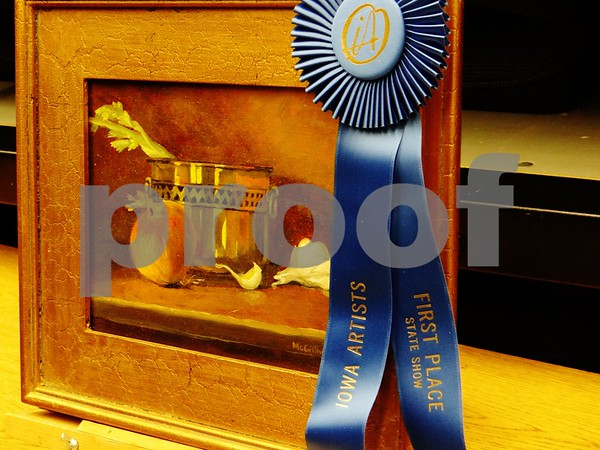 """Mary Jo McGillivary is the artist of """"Onions and Garlic"""", awarded First Place"""