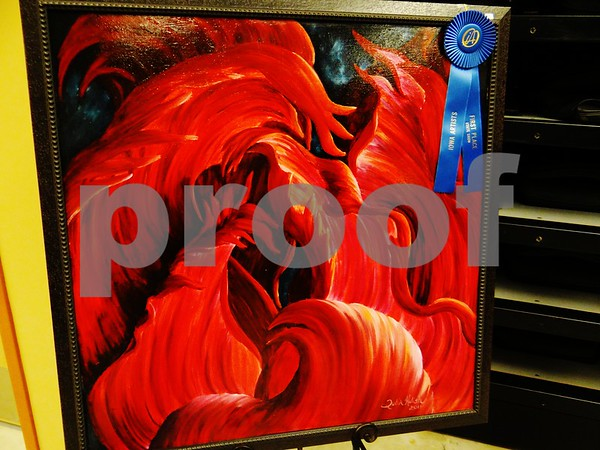 """Julia Kulish's painting """"Red"""", awarded first place."""