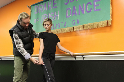 Karl Drake, left, trains 18-year-old Catie Foley at The Drake School of Irish Dance studio in Norcross. Foley is a world championship level Irish dancer who is currently ranked ninth in the world. She has been dancing for 13 years.