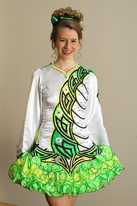 Fourteen-year-old dancer Enya Filberg models her dress that was custom designed and made in her mother's hometown of Belfast, Ireland. Filberg has danced with The King O'Sullivan School of Irish Dance, Marietta, for eight years.