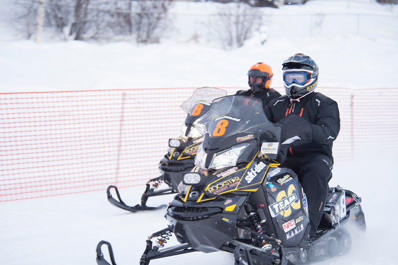 The finish of the Iron Dog snowmobile race on the Chena River in downtown Fairbanks, Alaska.