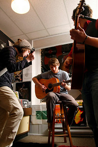"Audio production senior Chad Golda and former students Mike McConeghy and Dylan Rogers play together at the Record Lounge. Their band ""Star Star Star"" was one of the opening acts for Irwin Vega in the tiny record shop."