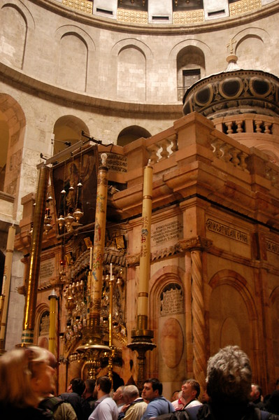 Some believe Jesus was buried at this site.  This is the tomb enclosed by a 19th century shrine.