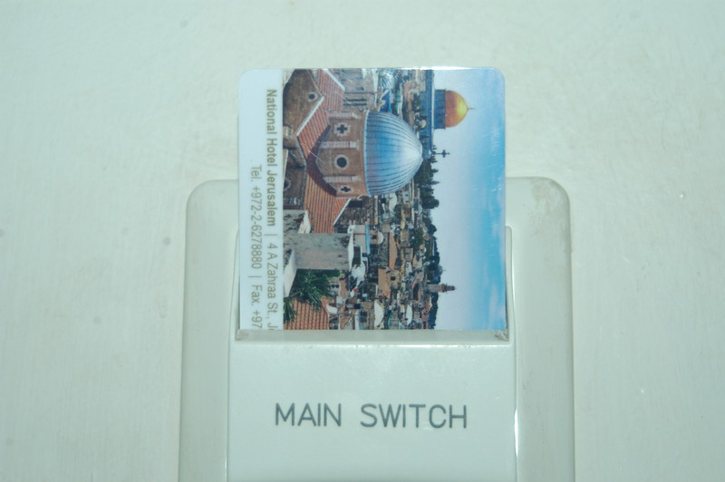 The hotel key card is used to turn on the electricity in the room.  No more lights left on by accident!