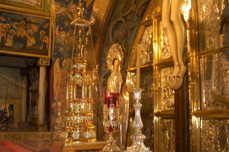 Tradition says this is the site where Jesus was crucified.