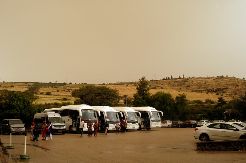 Tour buses in Tabgha.
