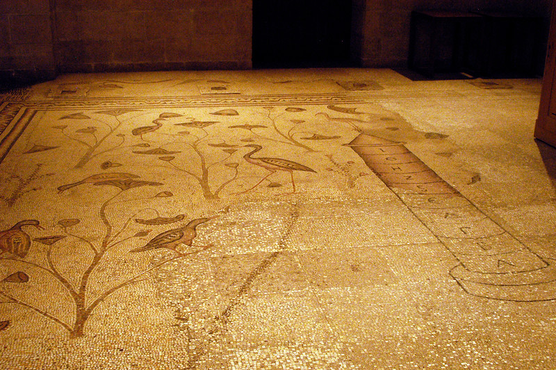 Detailed floor designs in the church.