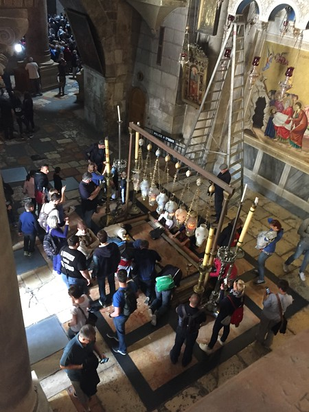 The interior entrance to the Church of the Holy Sepulchre.