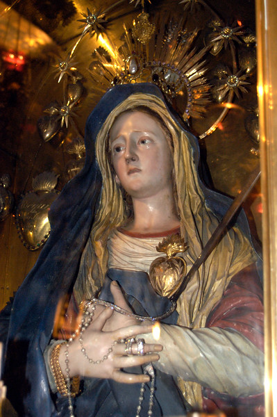 Statue of Mary on the site where it is believed she stood at the cross.