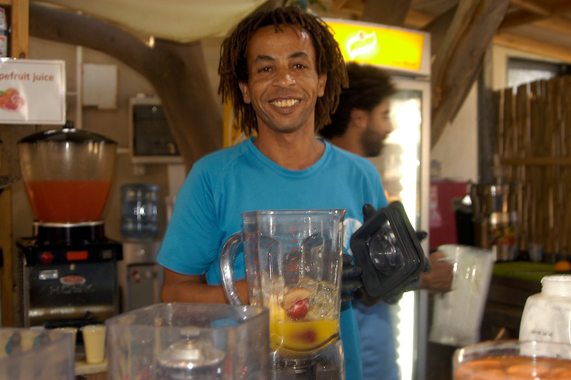 Our favorite fruit drink mixer, at the Dead Sea, who lives in Jericho.  He said people still get robbed on the road to Jericho.