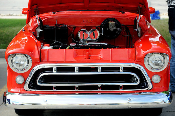 """There are snake eyes on this 1957 Chevy truck.<br /> The 10th annual JDBR Streetrodders Car Show was held at Buenos Tiempos Restaurant in Broomfield on Sunday. For more photos of the show, go to  <a href=""""http://www.broomfieldenterprise.com"""">http://www.broomfieldenterprise.com</a> or  <a href=""""http://www.dailycamera.com"""">http://www.dailycamera.com</a>.<br /> Cliff Grassmick / May 6, 2012"""