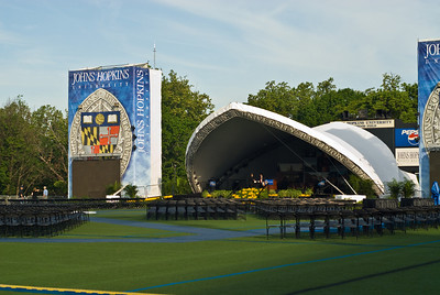 The Stage set up on Homewood Field, Main Campus 33rd Street & Charles.