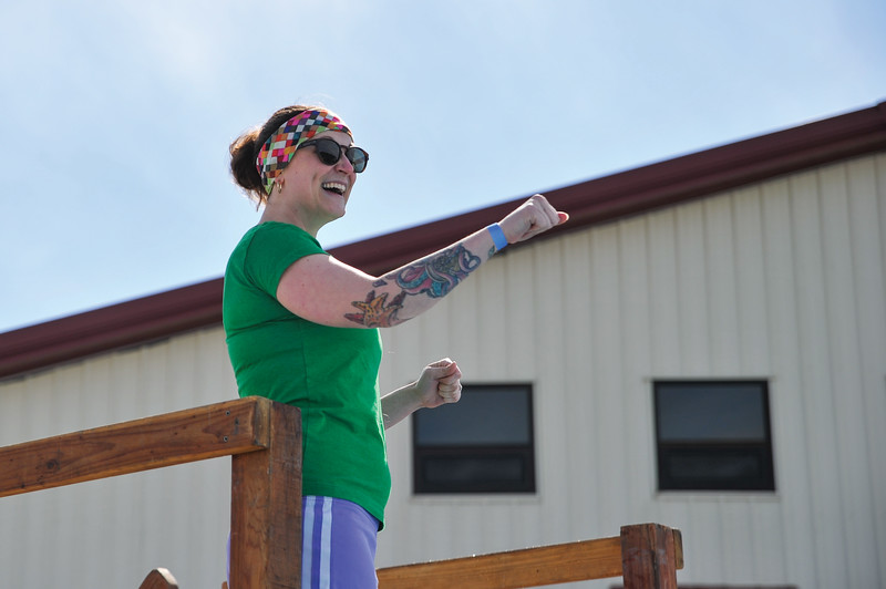 Ashleigh Fox | The Sheridan Press<br /> RENEW community liasion Leita Rolfe prepares to jump in the pool at the Jackalope Jump Saturday, March 17, 2018. The event raised nearly $8,700 for local Special Olympics teams.