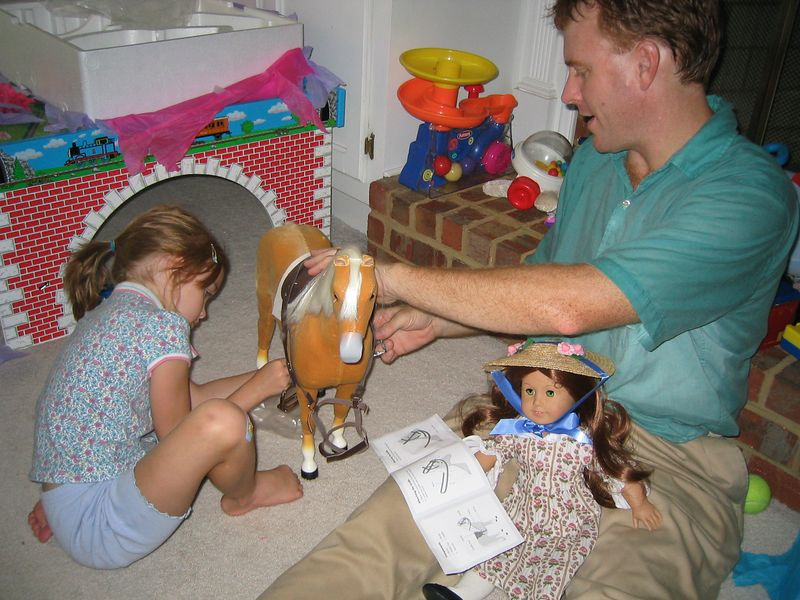 Caroline got this beautiful American Girl doll horse from Gram and Papa to go with her new American Girl doll Felicity.  She LOVES her horse!