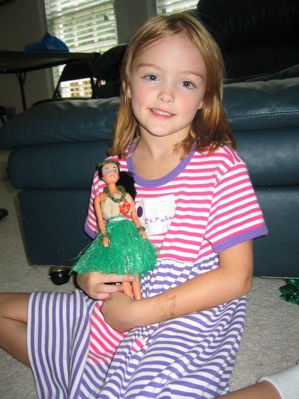 Caroline got this pretty Hawaiian doll from Granddad and Nana.  They bought it on their recent trip to Hawaii.