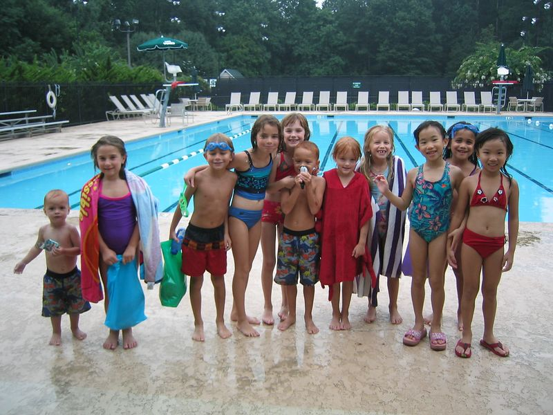 The Birthday Crew!  They had so much fun.  It rained the whole time, but there was no thunder or lightening.  We had the whole pool to ourselves because of the weather.