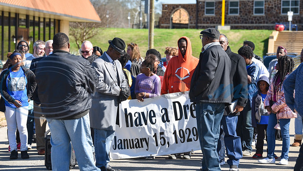 Jacksonville residents gathered at the Norman Activity Center near downtown for a Martin Luther King Jr. march on Monday, January 20 that ended with special service at Sweet Union Baptist Church. (Jessica T. Payne/Tyler Morning Telegraph)