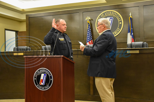 Jacksonville Police Chief Joe Williams gets sworn in by Jacksonville Mayor Randy Gorham at City Hall on Friday, February 7. (Jessica T. Payne/Tyler Morning Telegraph)