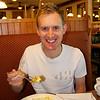 Jake having breakfast at Keys Cafe