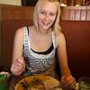 Vicky having blueberry pancakes at Keys Cafe