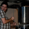 Jake loving the camera while he stirs the wort.