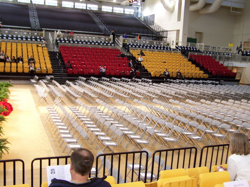 Kennesaw State University Convocation Center awaits the graduates.