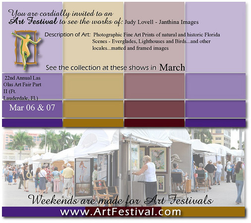E-Postcard Invite to the Las Olas II Art Festival on March 6th and 7th, 2010.