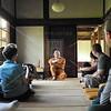 Kyoto, Shunkoin, Reverend Takafumi Kawakami, discusses Zen Buddhism with the group.