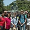 Kamakura, Briana Reynolds, Mark and Rosmary Schlachter, Helen Rindsberg, Guerin Harris, Jason Herzog, Jeff Cox and Patty Queener pose with the Great Buddha.