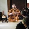 Kyoto, Shunkoin Temple, Reverend Takafumi Kawakami discusses Zen Buddhism with the students.