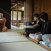 Kyoto, Shunkoin, Reverend Takafumi Kawakami, discusses Zen Buddhism with Brad Keith, Emilie Helman and Jeff Cox.