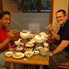 Kyoto, Ninnaji Temple, Briana Reynolds and Jeff Cox enjoy their dinner at the Omuro Kaikan Hall.
