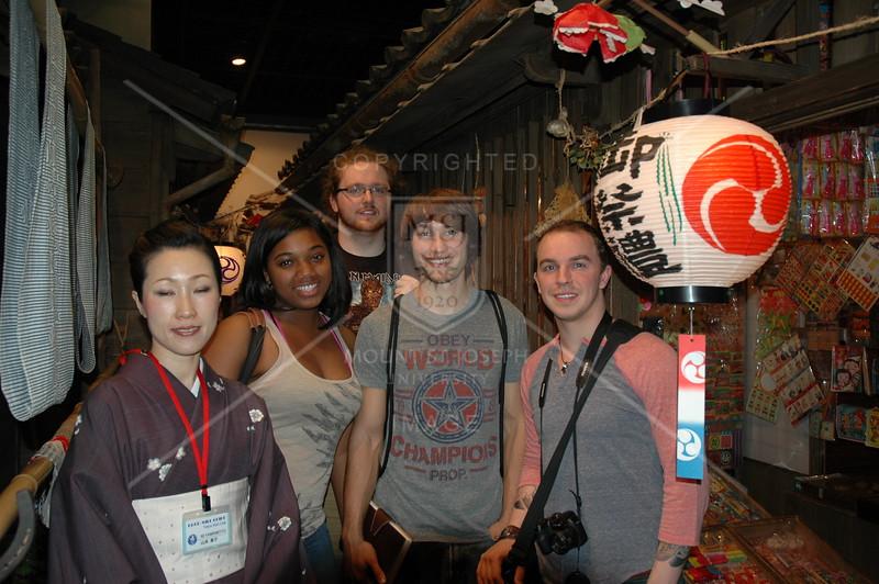 Tokyo, Shitamachi Museum, Voluteer Guide Motoko Yamamoto with Destiny Griffith, Corey Brann, Dane Brooks and Matthew Kohlmorgen.